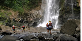 Stunning waterfall during Panama Rafting in the Chiriqui Viejo